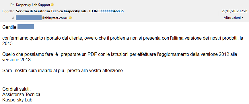 Testo e-mail