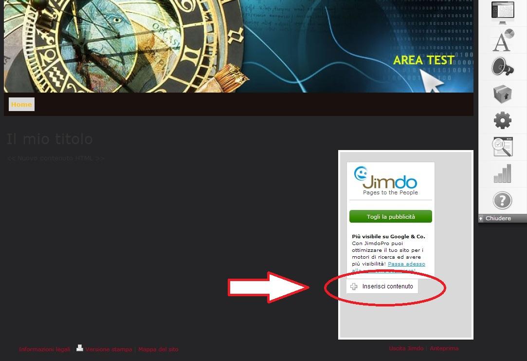 """Inserire ShinyStat nei siti creati con Jimdo - Passo 1: Cliccare su """"Inserisci contenuto"""""""
