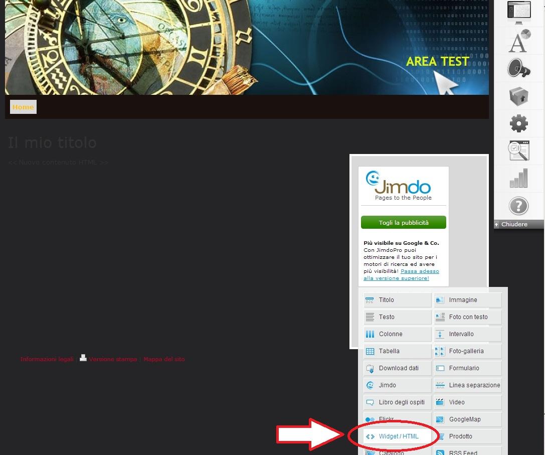 Inserire ShinyStat nei siti creati con Jimdo - Passo 2: Cliccare su Widjet/HTML