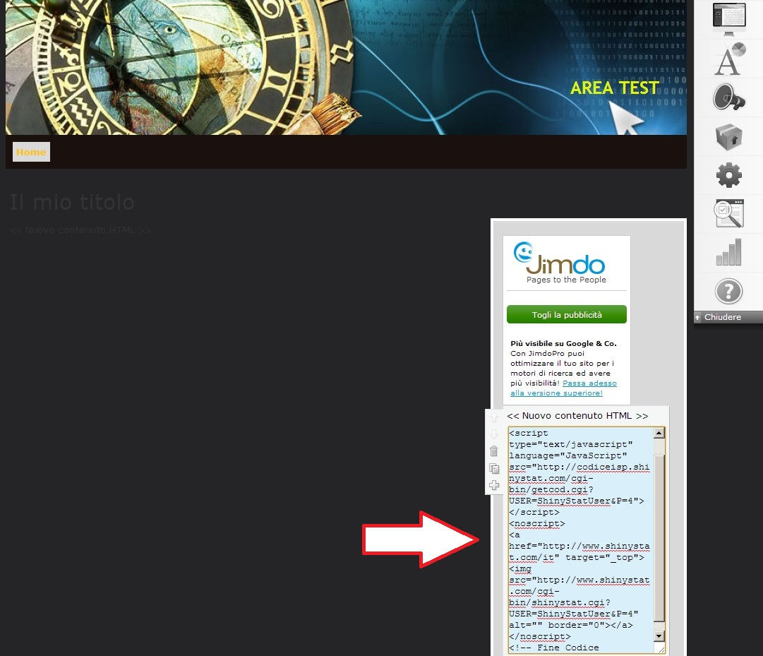 Inserire ShinyStat nei siti creati con Jimdo - Passo 3: Incollare il codice ShinyStat