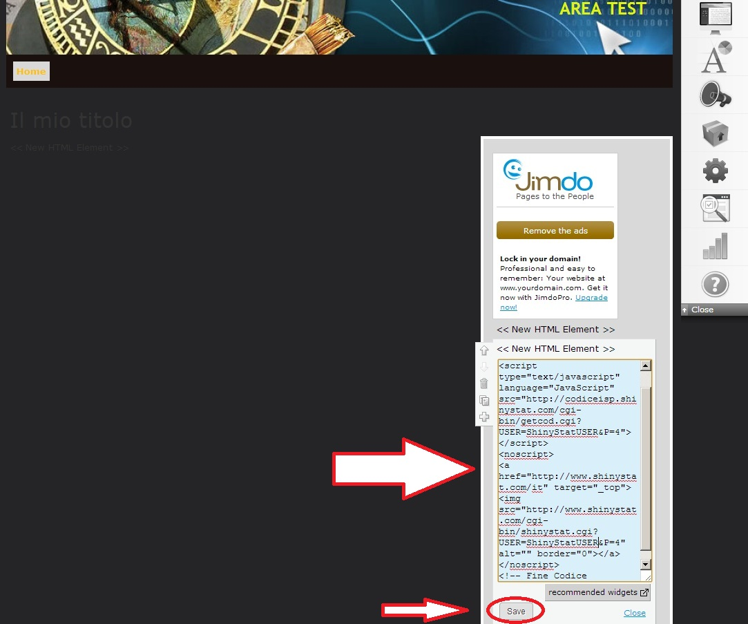 How to insert the ShinyStat code in a website built with Jimdo - 3 Step: Paste ShinyStat Code and Save
