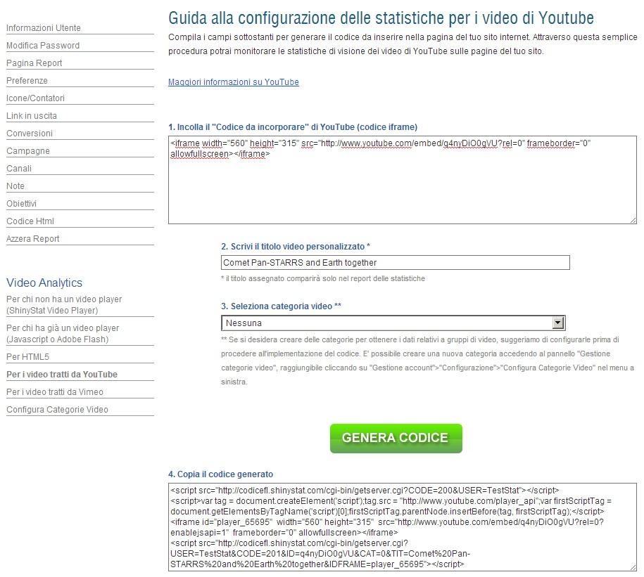 Attivare ShinyStat Video Analytics in Jimdo - Passo 2