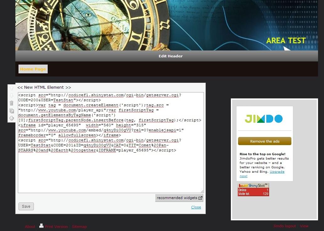 Attivare ShinyStat Video Analytics in Jimdo - Passo 3