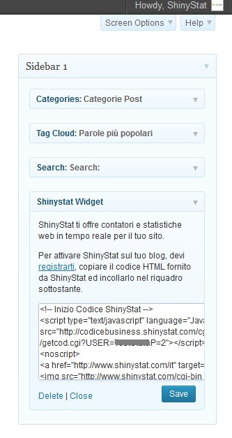 WP-ShinyStat - Come integrare ShinyStat in WordPress (Passo 4)