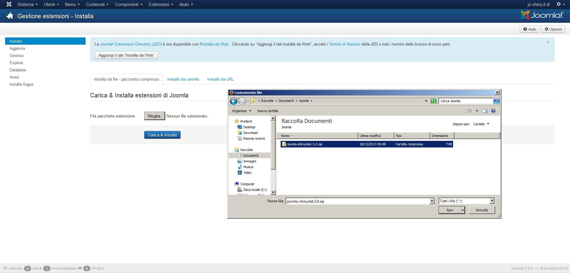 Installare il plugin di ShinyStat per la versione 3.x di Joomla (3.0 o superiore)