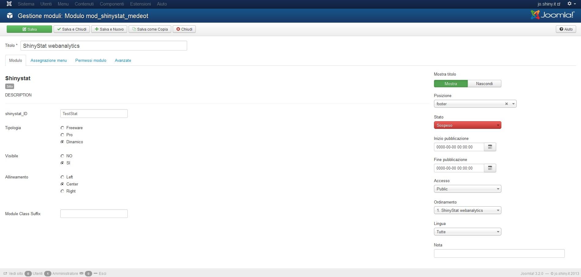 Installare il plugin di ShinyStat per la versione 3.x di Joomla (3.0 o superiore) - Passo 6