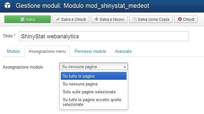 Installare il plugin di ShinyStat per la versione 3.x di Joomla (3.0 o superiore) - Inserire il modulo in tutte le pagine