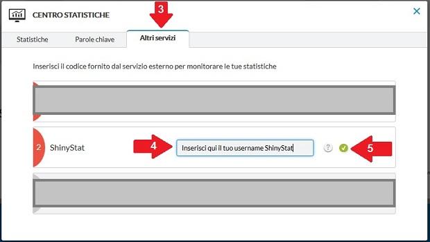 Come attivare ShinyStat nei siti creati con Flazio - Passi 3, 4 e 5