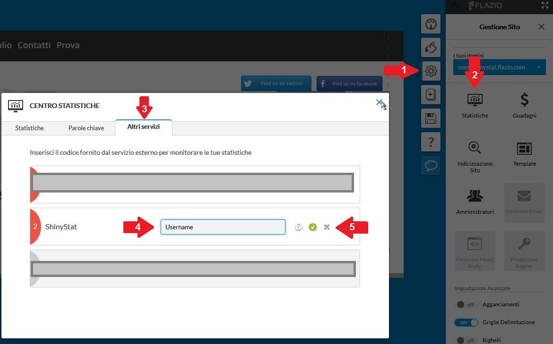Come attivare ShinyStat nei siti creati con Flazio