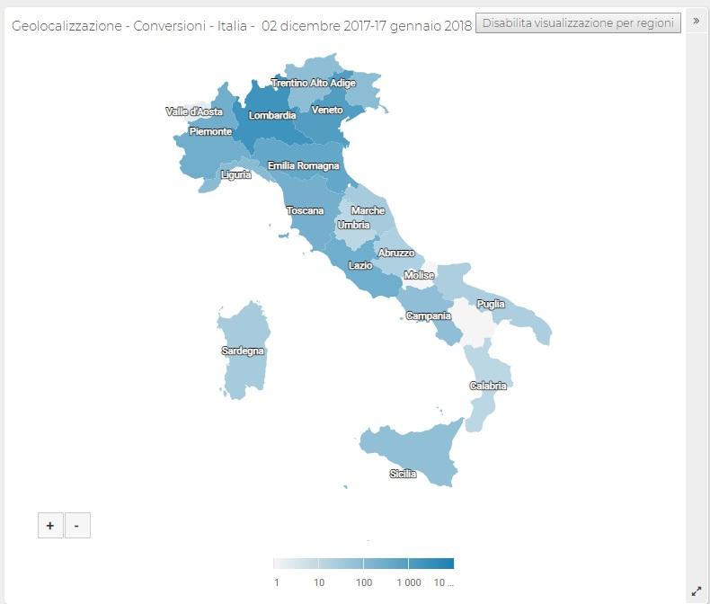 Report ShinyStat - Conversioni Monetarie - Geolocalizzazione - Italia