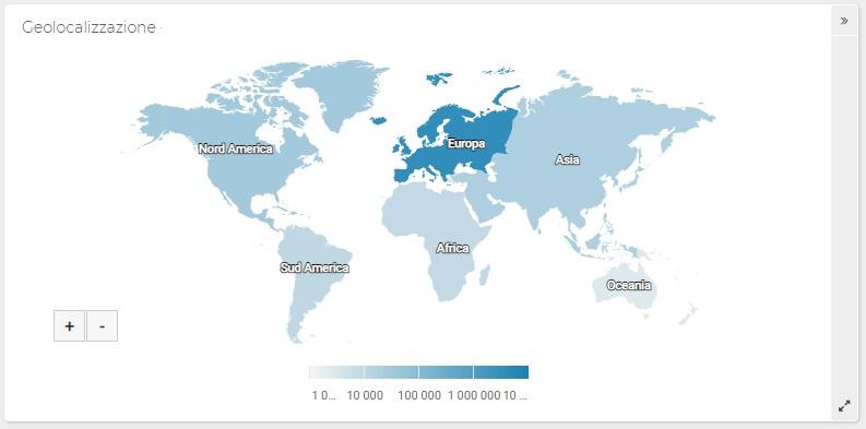 Report ShinyStat Video Analytics - Geolocalizzazione degli accessi ai video (Mappa)