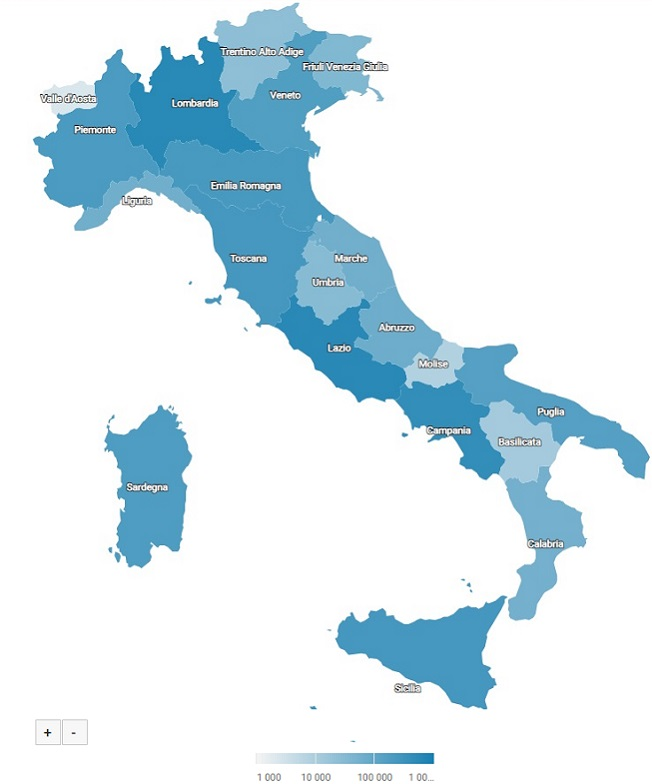 Report ShinyStat Video Analytics - Geolocalizzazione degli accessi ai video - Italia (Mappa)